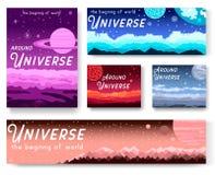 Dunne lijnreeks kleurrijke dekking met verschillende planeten en rond het concept van de Heelalkrantekop Vector vlak overzicht de vector illustratie