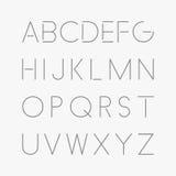Dunne minimalistic doopvont Vector Engels alfabet Stock Afbeeldingen