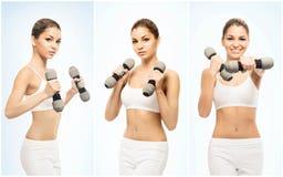 Dunne, sportieve en slanke die vrouw in sportkleding op wit wordt geïsoleerd stock foto's