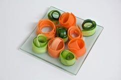 Dunne stroken van groenten. Stock Foto