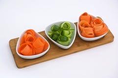 Dunne stroken van groenten. Stock Fotografie