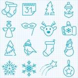 Dunne van de lijnwinter en Kerstmis geplaatste tijdpictogrammen Stock Fotografie