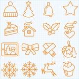Dunne van de lijnwinter en Kerstmis geplaatste tijdpictogrammen Stock Foto