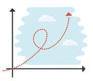 Dunne vectorillustratie van a van een generisch beeldverhaalkarakter omhoog een exponentiële de groeigrafiek Stock Foto