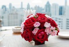 Dunner de table de Rose Photo stock