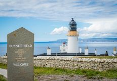 Dunnet Head Lighthouse, in Caithness, on the north coast of Scotland, the most northerly point of the mainland of Great Britain. Royalty Free Stock Image