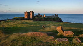 Dunnotar Castle and drawbridge remains Stock Photography