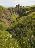 Dunnottar在苏格兰海岸线的城堡废墟 Stonehaven Scotla 库存图片