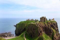 Dunnottar城堡风景废墟  免版税库存照片