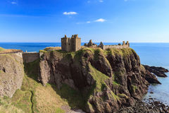 Dunnottar Castle with blue sky in - Stonehaven, Aberdeen Royalty Free Stock Images