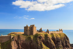Dunnottar Castle with blue sky in - Stonehaven, Aberdeen Stock Photos