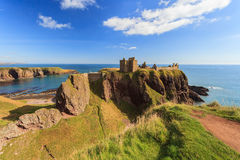 Dunnottar Castle with blue sky in - Stonehaven Royalty Free Stock Images