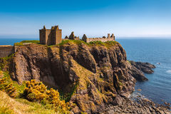 Dunnottar Castle with clear sky in Stonehaven, Aberdeen, Scotlan Royalty Free Stock Images