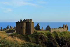 Dunnottar Castle, Scotland. This dramatic and evocative ruined cliff top fortress was the home of the Earls Marischal, once one of the most powerful families in Royalty Free Stock Photo
