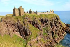 Dunnottar Castle, Scotland. This dramatic and evocative ruined cliff top fortress was the home of the Earls Marischal, once one of the most powerful families in Royalty Free Stock Images