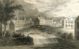 Dunnsville Maine Factory Town Antique Illustration illustrazione vettoriale