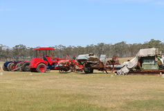 Dunolly的葡萄酒拖拉机和引擎召集,举行在老跑道,主持了许多历史的引擎和机器 免版税图库摄影