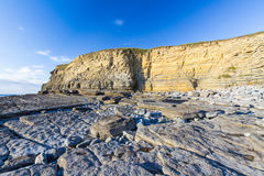 Dunraven Bay, or Southerndown beach, with limestone cliffs. Stock Photos