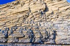 Dunraven Bay, or Southerndown beach limestone cliffs. Royalty Free Stock Photos