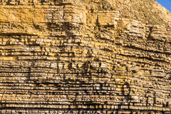 Dunraven Bay, or Southerndown beach limestone cliffs. Royalty Free Stock Images