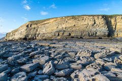 Dunraven Bay, or Southerndown beach, with limestone cliffs. Royalty Free Stock Image