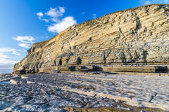 Dunraven Bay, or Southerndown beach, with limestone cliffs. Stock Photo