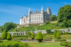 Dunrobin Castle in a sunny day, Sutherland county, Scotland. royalty free stock photo