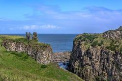 DUNSEVERICK, NORTHERN IRELAND - AUGUST 23, 2018: Dunseverick Castle stock photo