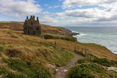 Dunskey kasztel blisko Portpatrick, Szkocja, Zlany Kindom zdjęcia stock