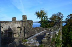 Dunstaffnage Castle Ruins from the Top of the Ramparts. Dunstaffnage castle ruins in Argyll and Bute Scotland Stock Image