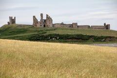 Dunstanburgh kasztelu widok Zdjęcie Royalty Free