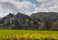 Dunster Castle Landscape, Somerset, England. The medieval village of Dunster is in Somerset within the Exmoor National Park, England. Landscape of the stock photo