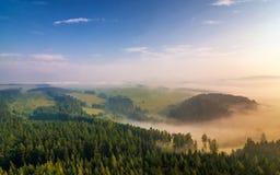 Dunstige Landschaft in Adrspach Stockfotografie