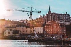 Dunstiger Schuss von bunten nordischen Häusern von Stockholm, Schweden Stockbild