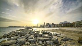 Dunstiger Sonnenuntergang über Front Beach Modern City 4K stock video footage