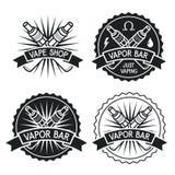 Dunststången och Vape shoppar logo Royaltyfri Bild