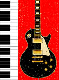 Duo. Black and white piano keys set against a background with a guitar and grunge effect Royalty Free Stock Photo