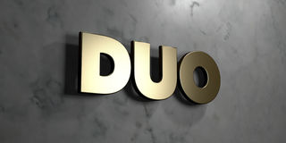 Duo - Gold sign mounted on glossy marble wall  - 3D rendered royalty free stock illustration. This image can be used for an online website banner ad or a print Stock Photography