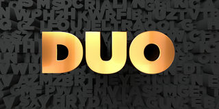 Duo - Gold text on black background - 3D rendered royalty free stock picture. This image can be used for an online website banner ad or a print postcard Royalty Free Stock Images