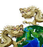 Duo Golden Chinese Dragon with global Royalty Free Stock Image