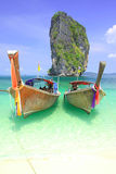 Duo long tail boat @ koh Poda Royalty Free Stock Image