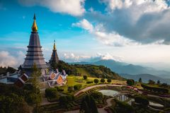 Duo pagoda. Noppha methanidon-noppha phon phum siri stupa in an Inthanon mountain, Chiang Mai, Thailand royalty free stock photos