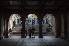 Duo playing music. A duo playing music at the Bethesda Terrace Arcade, NY Stock Image