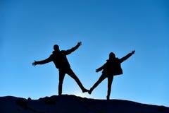 Duo réussi et heureux ; équipe folle Photos stock
