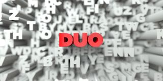 DUO -  Red text on typography background - 3D rendered royalty free stock image. This image can be used for an online website banner ad or a print postcard Royalty Free Stock Image