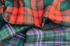 Duo of Tartan Plaid Fabrics Royalty Free Stock Photos