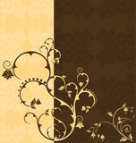 Duo tone floral wallpaper. In coffee colors with very detailed wallpaper, vector illustration Stock Image