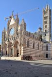 The Duomo. With campanile of Siena - Reconstruction.  of Siena, which was built in the 12th and 13th centuries, is one of the prettiest churches in Gothic style stock photo