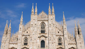 Duomo. The front of the Duomo in Milan stock photo