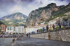 DUOMO AMALFI  ITALY - NOVEMBER 5 : tourist walking on walking w Royalty Free Stock Image